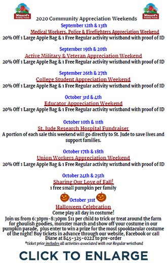 Mindard's Family Farm Calendar of Events